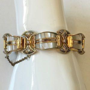 Vintage Damascene Mother of Pearl Link Bracelet
